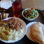 The delicious cabbage pie, salad, bean & cauliflower curry, stuffed bell pepper and mors at Govi