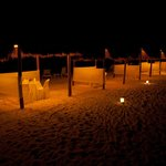Dining on the beach at night!