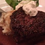 Filet with blue cheese and mashed potatoes