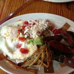 Steak & Eggs with crispy poblano potatoes and chopotle sauce