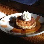 Pancakes with Mexican chocolate chips a caramel coffee syrup