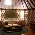 Inside of the yurt by night