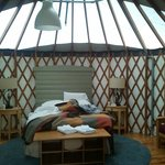 Inside of the yurt by day