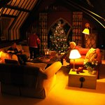 The sitting room, dressed up for Christmas.