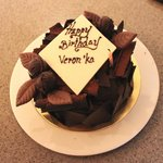 Friend's surprise chocolate birthday cake delivered to our residence - heavenly!