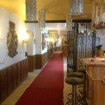 Corridor to the left at the restaurant door