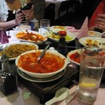 Some of the food on the hot plates. delicious.