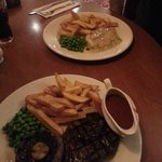 Steak and chips with memphis cherry bbq sauce and also chicken with leek and bacon sauce
