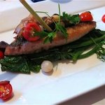 chita rockfish with spinach pickles onions, cherry tomatoes, lemongrass and green beans