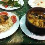 moussaka and rice tagine