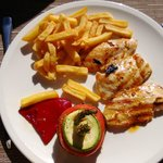 Lunch at Pili-Pili outdoors - chicken fillet with fries