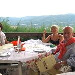 Dining on the terrace before the opera Preggio