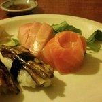 Eggplant sushi with hamachi and salmon sashimi