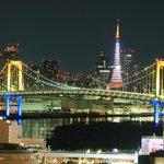 東京タワーとレインボーブリッジの夜景 すごくきれい テレコムセンター展望台は日本夜景遺産に認定されている