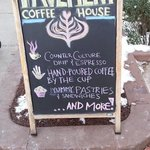 Pavement Coffee, the sign tells it all