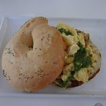 Bagel with scrambled eggs