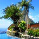 Resort pool with view of Petit Piton