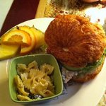 Crunchy Chicken Salad sandwich with bowtie pasta & fruit.