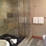 Fantastic tile and relaxing walk in shower and soaker tub combination