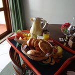 Fresh fruit, orange juice, pastries and coffee - perfect way to start the day!