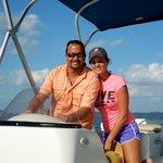 Julie and Travis enjoying a pontoon boat ride