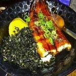 Unagi Don - grilled teriyaki eel fillet. Yum.