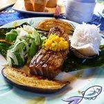 Ahi Tuna with mango salsa, baked Hana bananas, Rice served on coconut shell and veggies.