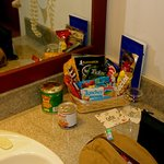 A 5 star hotel does not put food in the bathroom, Trust me. Brush your teeth and get your sausag