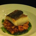 Baked Newhaven Cod on Cannellini Beans with Chorizo