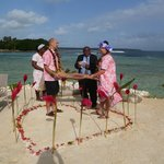 Exchanging traditional sleeping mats - renewing our vows