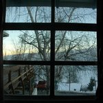 vista do quarto ao amanhecer