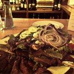 Steak Salad at the bar.