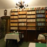The magnificent library in the dining room