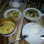 Green curry, chicken & ginger and Pad Ke Mao