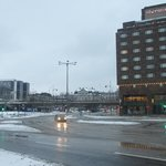 View of the hotel across Slussen