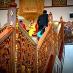 ornate wooden carved staircasea