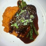 Eye fillet on sweet potato mash with red wine jus