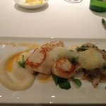 Scallops With fennel salad cauliflower puree & a saffron foam
