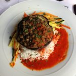 Eggplant Lentil Boat with Red Pepper Coulis.