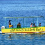 one of many glass bottom boats that pass by all day long