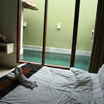 second bedroom with pool view