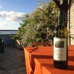 Tasty white wine by Marisa Cuomo at balcony