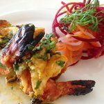 the yummy tandoori shrimp!