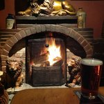Roaring fire at The Golden Lion, Newport, Pembrokeshire