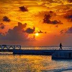beautiful sunset by the bridge