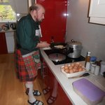 Duncan cooking the breakfast