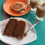 Coconut tart, cappuccino cake and iced coffee. Yum!