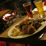 Carvery plate, beer, cider & fireplace
