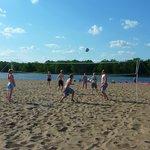 Volleyball on a sandbar