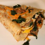 eggs, sausage, spinach and cheese